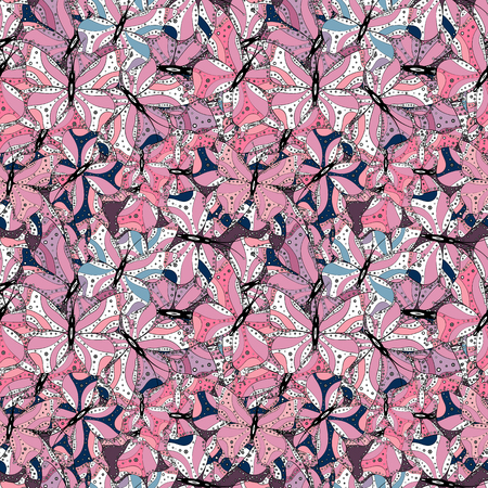 Vector. Design wrapping and gift paper, greeting cards, banner and posters design. Print. Doodles pink, black and white on colors. Fashionable fabric pattern. Ilustração