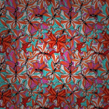 Seamless Elegant vector texture with floral elements. Doodles black, white and orange on colors. Ilustração