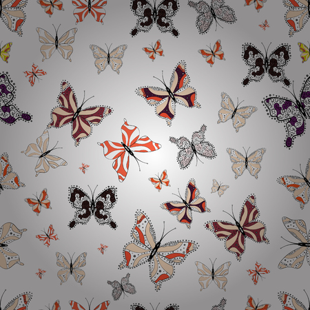 Cute trend butterflies. Vector traditional folk nice decor on white, black and beige background for clothing design.