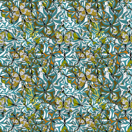 Children butterfly seamless pattern. Vector fashion butterflies wallpaper for child. Beautiful colorful butterflies on a green, white and black background. Illustration