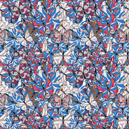 Vector fashion butterflies wallpaper for child. Children butterfly seamless pattern. Beautiful colorful butterflies on a blue, black and white background.