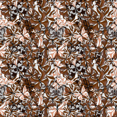 Beautiful seamless pattern of cute butterflies. Hand-drawn illustration. Pictures in black, brown and white colors. Fashion Fabric Design. Vector.