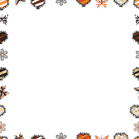 Vector Background seamless pattern with hand drawn Frame doodle. Doodle frame consists of black, white and brown border. Seamless.