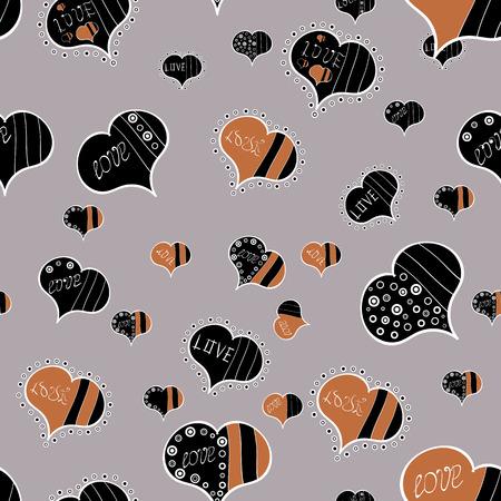 Romantique sans couture. La Saint-Valentin. Aime la toile de fond répétée pour fille, textile, vêtements, papier d'emballage. Esquissez les éléments du cœur sur les couleurs grises, brunes et noires. Illustration vectorielle.