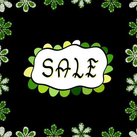 Sale banner template design, Big sale special offer. Picture in green, black and white colors. Vector illustration. Seamless. End of season special offer banner.
