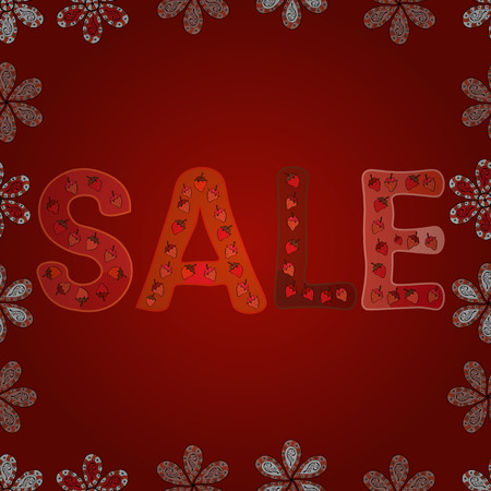 Sale lettering in orange, pink and red colors. Vector. Seamless pattern. Collection with style backgrounds for your project, commercial banner, flayer, animation, advertisement, sale, frame.