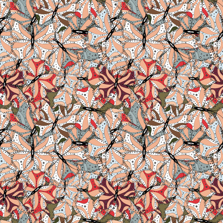Nice background. White, beige and gray on colors. Seamless Beautiful fabric pattern. It can be used on wallpaper, mug prints, baby apparels, wrapping boxes etc. Vector - stock. Doodles cute pattern.