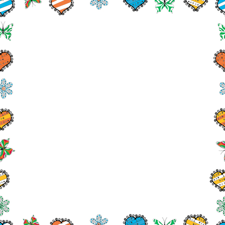 Comic style doodle frame consists of white, orange and black border. Vector. Seamless pattern.