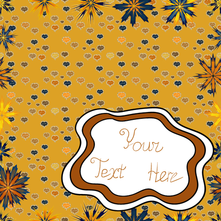Pictures on a brown, yellow and white colors Vector illustration. Seamless pattern Elegant decorative ornament for fashion print, scrapbook, wrapping paper, wallpaper.  イラスト・ベクター素材