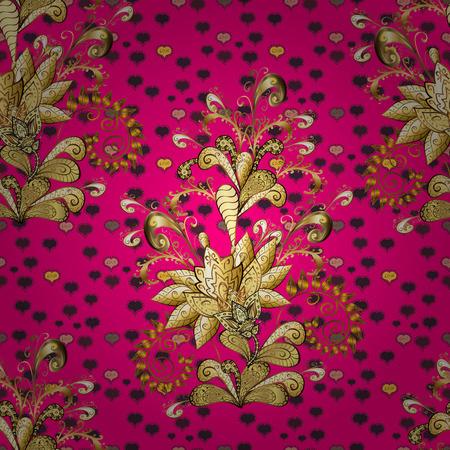 Vector illustration. Seamless Chichi fabric pattern. Flowers pattern. Flat Flower Elements Design. Colour Spring Theme seamless pattern Background. Ilustração