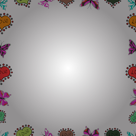 Picture in white, orange and black colors. Vector. Seamless. Quadratic frames doodles.
