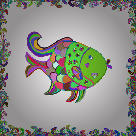 Handdrawn. Fishes on white, violet and green. Seamless Fish pattern. Vector illustration. Foto de archivo - 124501375