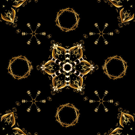 Brown and black backdrop with gold trim. Furniture in classic style. Pattern on brown and black colors with golden elements. Small depth of field. Luxury furniture. Seamless element woodcarving.  イラスト・ベクター素材