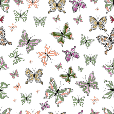 Illustration on neutral, black and white colors. Background for Fabric, Textile, Print and Invitation. Beauty in Nature. Vector design. Seamless pattern with Flying Butterflies in Watercolor Style.