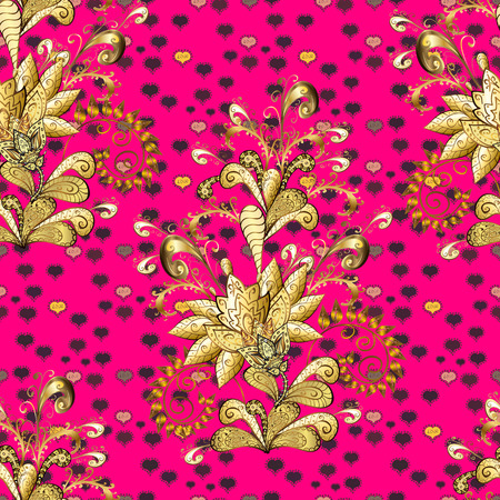 Flowers of the valley on yellow, brown and magenta colors. Vector seamless floral pattern. Foto de archivo - 124448563