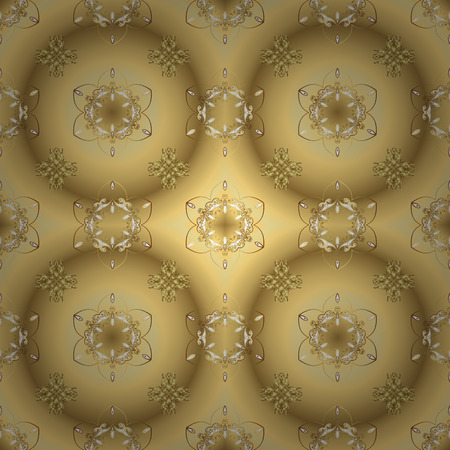 Vector seamless pattern on yellow and beige colors with golden elements. Damask seamless pattern for design. Иллюстрация