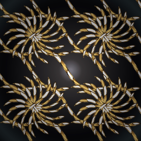 Brown and gray colors with golden elements. Gold metal with floral pattern. Vector golden floral ornament brocade textile and glass pattern. Seamless golden pattern.
