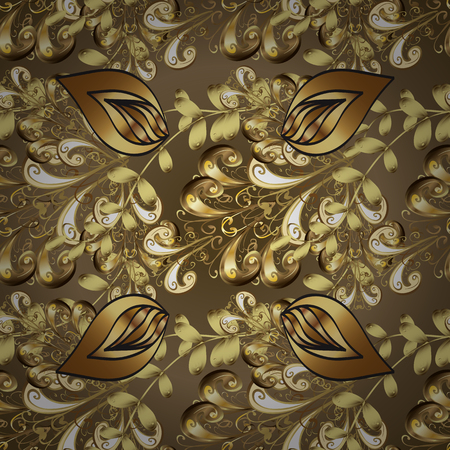 Vector. Seamless pattern with fantasy flowers, natural wallpaper, floral decoration curl illustration. Paisley print hand drawn elements. Home decor. Illustration on brown and beige colors.