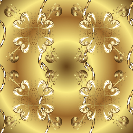 Seamless pattern on yellow and brown colors with golden elements. Brilliant lace, stylized flowers. Oriental style arabesques. Openwork delicate golden pattern. Vector. Seamless golden texture curls. Vetores