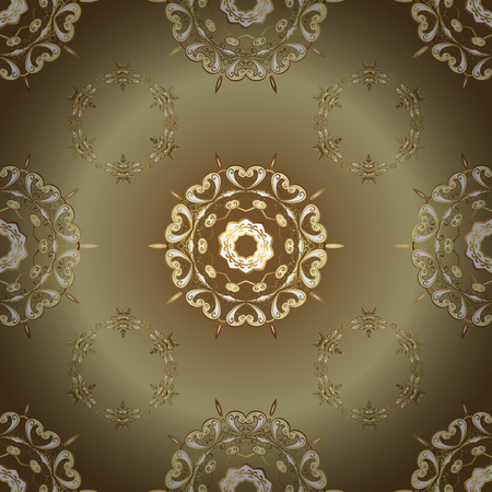 Classic vector golden seamless pattern. Classic vintage background. Traditional orient ornament. Seamless pattern on beige and brown colors with golden elements.