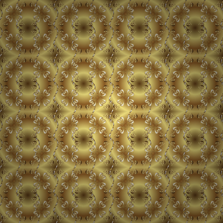 Floral tiles. Seamless pattern oriental ornament. Vector golden textile print. Islamic design. Golden pattern on yellow and brown colors with golden elements.