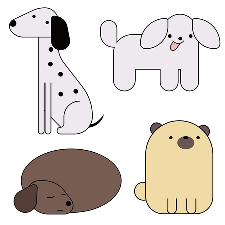 dogs simlple art geometric illustration. Icon, graphic symbol, part of image design . Dogs of different breeds