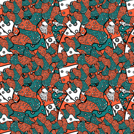 Seamless pattern Sketch cute background. Nice pattern for wrapping paper vector. Doodles blue, black and orange on colors.