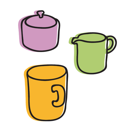 tea cup sugar and cream hand drawn illustration. Icon, graphic symbol, part of image design , kitchen hardware 矢量图像