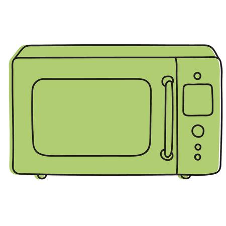 microwave oven hand drawn illustration Ilustração