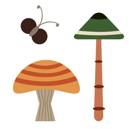 forest mushroom simple color illustration. Icon, graphic symbol, part of image design , forest wildlife related items
