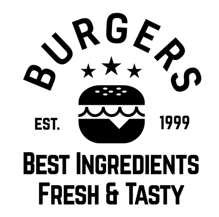 burgers label on white background Sticker label Illustration