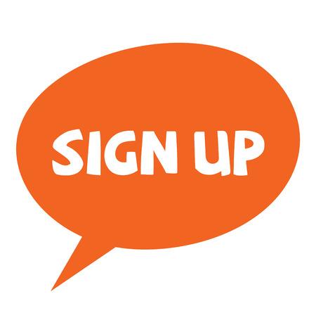 sign up label on white background Sticker label Vector Illustratie
