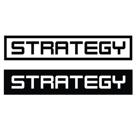 Strategy label on white
