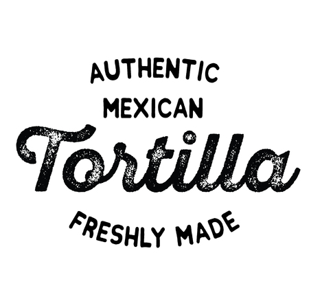 authentic mexican tortilla label on white background Vector Illustration