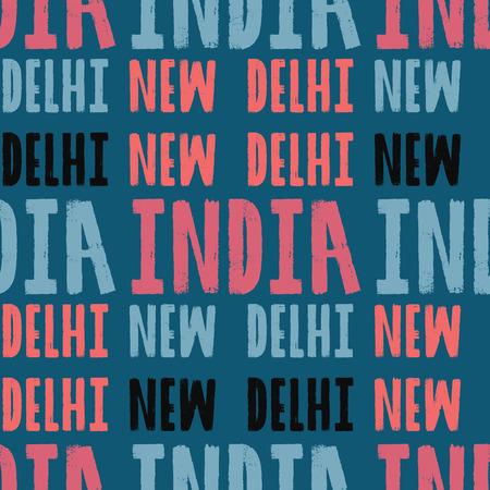 New Delhi, India seamless pattern, typographic city background, texture Illustration