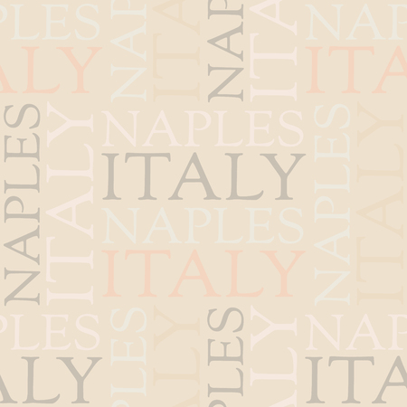 Naples, Italy seamless pattern, typographic city background texture
