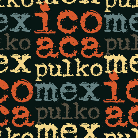 Acapulco, mexico seamless pattern, typographic city background texture Illustration