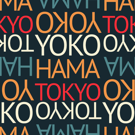 yokohama, tokyo japan seamless pattern, typographic city background, texture Illustration