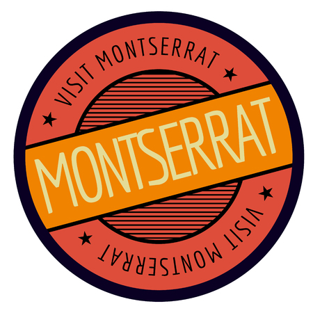 Montserrat geographic stamp. City or country label, sign
