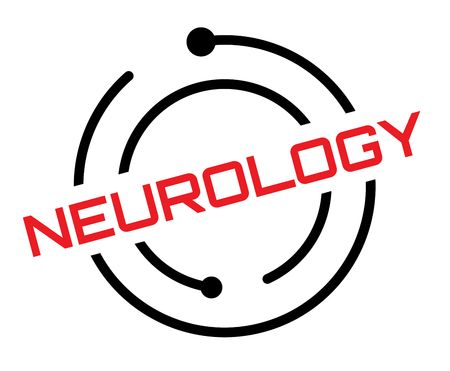 Neurology typographic label, sign. Clean modern series