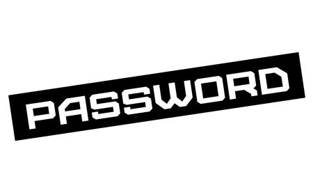 Password typographic sign. Mosern black and red stamp.