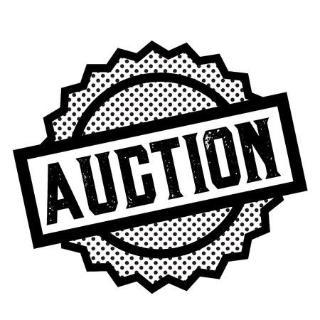auction stamp on white background. Sign, label sticker