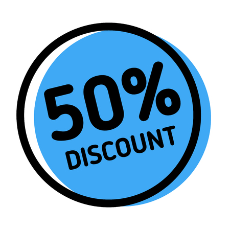 50 percent discount stamp on white background. Sign, label, sticker Illustration