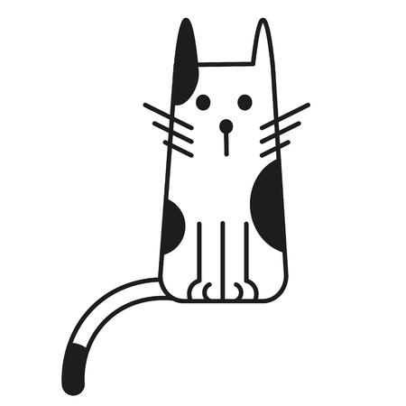 cat black and white line art illustration. Domestic cat - scandinavian style, geometric image.