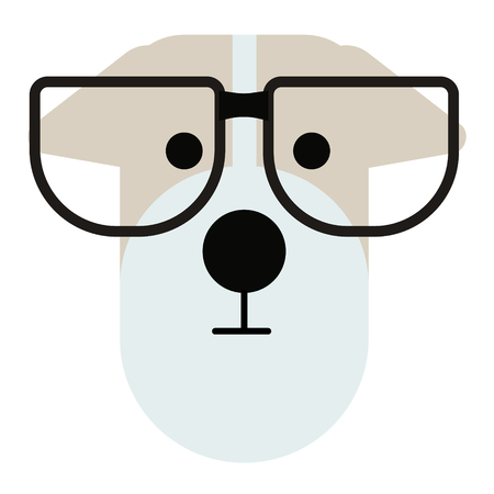 terrier dog wearing glasses simlple art geometric illustration. Icon, graphic symbol, part of image design . Dogs of different breeds