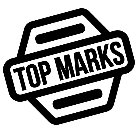 top marks black stamp, sticker, label, on white background