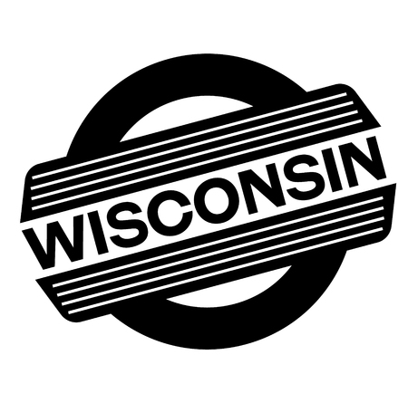 wisconsin black stamp, sticker, label on white background Illustration