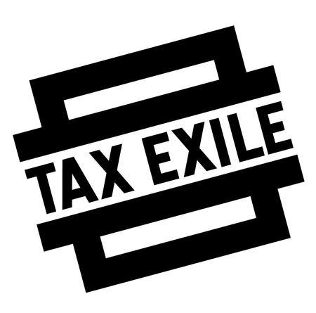 esilio fiscale timbro nero, adesivo, etichetta, su sfondo bianco