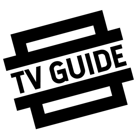 tv guide black stamp, sticker, label, on white background Ilustração