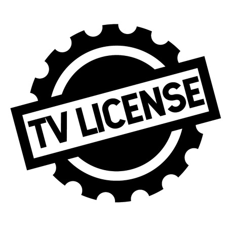 tv license black stamp, sticker, label, on white background 向量圖像